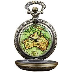 Bronze Vintage Australia Map Pattern Quartz Pocket Watch with Chain Pendant Watch