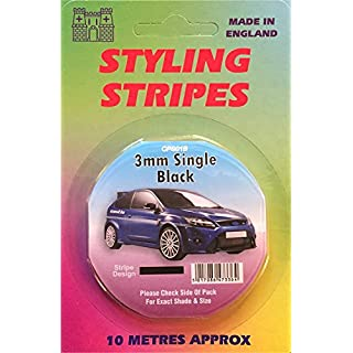 3mm Black Pin/Styling Stripe Self Adhesive for Cars, Home or Office approx 10 metre roll