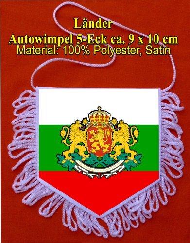 Preisvergleich Produktbild Wimpel Bulgarien, Autowimpel, 5 Eck 9x10cm