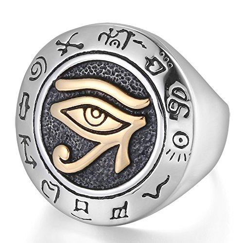 Mendino pour homme en acier inoxydable Bague ?il de HORUS égyptien Symbole de protection couleur or Argent poli avec 1x étui en velours - 65 (20.7)
