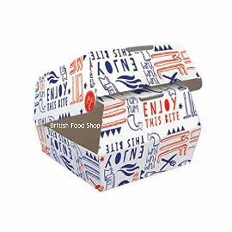 100 Disposable Burger ClamShell Boxes - Large (Fast Food/Takeaway Packaging) BRITISH FOOD SHOP