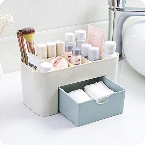 sunnymi Kosmetikbox/Schönes Praktisches Design/Platz Sparen/Desktop-Make-up-Speicher/Schubladenschachtel/Gute Qualität Isolierung Kein Eektrischer Schlag (blau) (4-wege-schürze)
