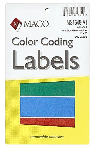 Material, colores primarios Rectángulo codificación de Color etiquetas, 1x 3pulgadas, 200por caja (ms1648-a1)