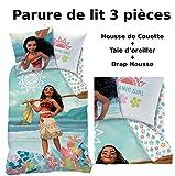 VAIANA - Parure de lit (3pcs) - Housse de Couette (140x200) + Taie d'Oreiller (63x63) + Drap housse (90x190) - MOANA