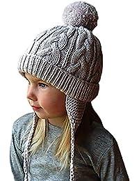 QinMM Bebés niñas niños Orejeras Calientes Sombreros de Punto para niños Gorra