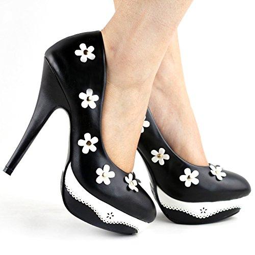 Voir l'établissement histoire romantique fleur noir/rose dentelle Stud plate-forme High Heel Shoes, LF30469 Noir