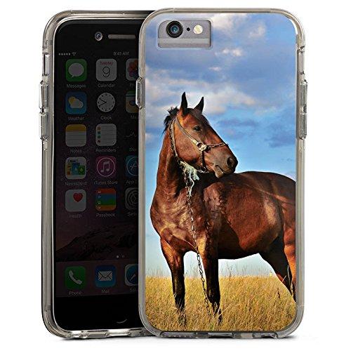Apple iPhone 6s Bumper Hülle Bumper Case Glitzer Hülle Horse Pferd Stute Bumper Case transparent grau