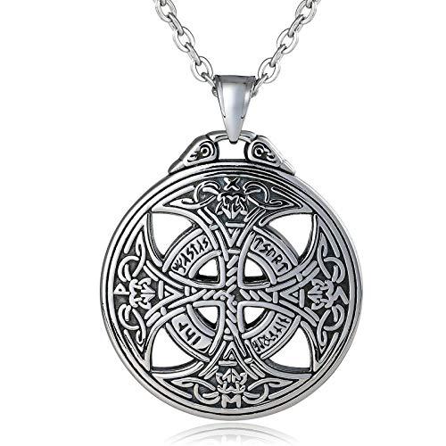 Daesar Herren Halsketten Anhänger Keltischen Knoten Kreuz Edelstahl Kette Silber Freundschaftskette