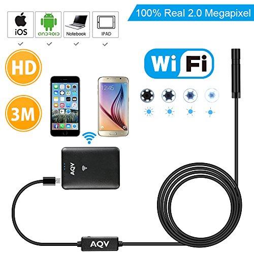 AQV Endoskop Kabelloses WiFi Endoskopkamera wasserdichte Inspektionskamera mit 2,0 Megapixel 720P HD halbsteife Kabel Boreskope Schlange kamera für Android und IOS Smartphone 3m