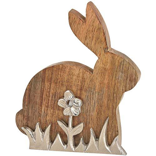 matches21 Dekorativer Osterhase Aufsteller Blume & Gras Holz & Metall 1 STK. 20 cm Braun/Silber Hasenfigur Dekofigur