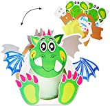 alles-meine.de GmbH Bastelset - Laterne / Lampion - GROß -  lustiger Drache / Dinosaurier  - 30 cm - aus Papier - für Kinder Papierlaterne - zum Basteln / Laternenbastelset - L..