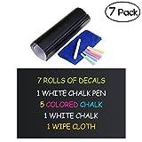 NUOLUX - Kit lavagne nere adesive in ardesia, rimovibili, da parete, 30x 45cm, 7 pz., con 2 panni di pulizia, 6 gessi, 1 pennarello bianco