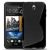 Conie Rückschale kompatibel mit HTC One Mini, Schwarze Silikon Backcover Schutzhülle aus sturzsicheren TPU Kratzfest Kantenschutz