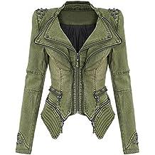 c77b19e98ef3c Juleya Veste Vintage en Denim à Clous pour Femmes Sexy Clubwear Rock et  Punk Zipper Vestes