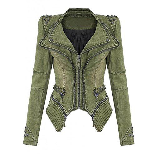 Grün Blazer Jacke (Juleya Damen Vintage Nieten Jeansjacke Sexy Rock und Punk Reißverschluss Jacken mit Schulterpolster Kurze Jeans Jacke Mantel Oberteil Blazer)