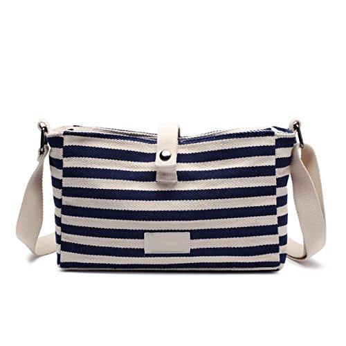 Women's Bag PU-Leder-Beutel-beiläufige Tasche Literarische Umhängetasche Einfache Wilde Marine-Streifen-Umhängetasche Wen Qing Zipper Canvas Kleine Partei-Tasche,Blue-OneSize (Jugend-schulter-pad)