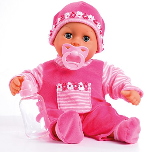 Bayer Design 93800 First Words Baby - Muñeca bebé primeras palabras (24 sonidos, 38 cm), color rosa
