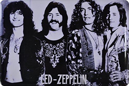 Wandtattoo Zeppelin Led (Retro Wandschild Designer Schild Led Zeppelin englische Rockband Deko 20x30cm Nostalgie Metal Sign XCOM88WA)