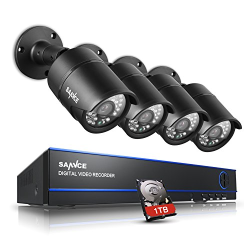 SANNCE KIT AHD DVR 4 Canali 1080P Video Sorveglianza Videoregistratore IR Telecamere di Sicurezza Impermeabile IP66 Sistema di CCTV Kit di Sorveglianza Bullet Camera 3,6MM con 1T HDD