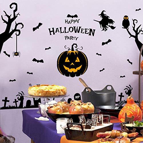Onlymygod dekorative Aufkleber Familie Halloween Wandaufkleber Glasaufkleber Schaufensteraufkleber abnehmbare Partywand 55x60cm