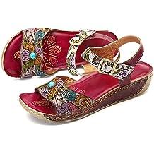 98c2794333b3f gracosy Sandalias de Mujer con cuña de Diapositivas Zapatos de Cuero Hechos  a Mano de la