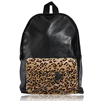 Hombro bolsa de viaje Moda Negro Pu Leather Studded Mochila Escolar Punk Remaches leopardo bolso al aire libre, Super Cool!