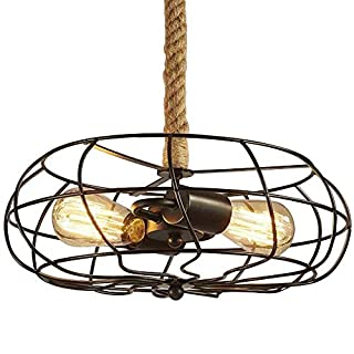 NIUYAO Pendant Light Industrial Vintage Style Fan with Cage & Hemp Rope 2 Lights Ceiling Lighting Fixture