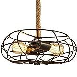 NIUYAO Industrie Kronleuchter Metall & Hanfseil Hänge Pendelleuchten Style Ventilator Vintage Retro (2 Licht)
