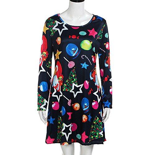 Robe Swing Imprimée Noël,OverDose Manches Longues Automne Hiver Christmas Dress Multicolore