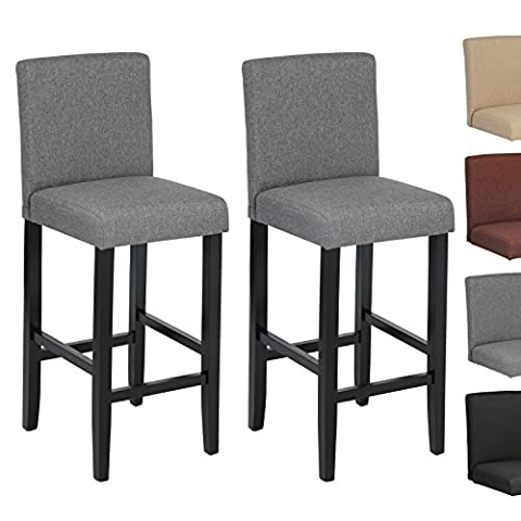 Woltu BH64dgr-2 2 x Linen Bar Stools Dark Grey Wood Bar Stools/Chairs with High Backs and Luxury Padded