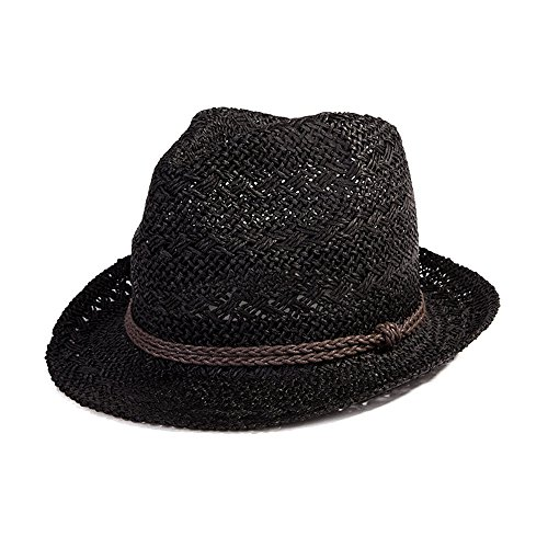 SIGGI Panamahut Sonnenhut Strohhut Fedora Hut Handgemacht Herren schwarz