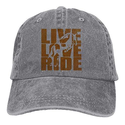 Ingpopol Men's/Women's Adjustable Cotton Denim Baseball Cap Live Love Ride Horses Hiphop Cap Ride Beanie Boys