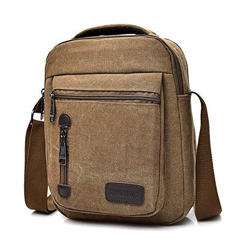 Outreo Borsa Tracolla Borsetta Uomo Borse a Spalla Borsello Sport Sacchetto Vintage Messenger Bag per Tablet Tasche Viaggio Tasca Studenti Satchel Marrone