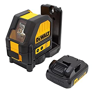 DeWalt DCE088D1G 10.8 V/2.0 Ah Battery Cross Line Laser Class 2 Laser Diode Colour Green IP65 with Pulse Mode Including Battery Charger Target Panel Laser Glasses Wall Mount and Case