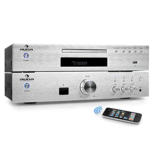 auna Elegance Tower Bluetooth HiFi-Set Verstärker + CD-Player mit Radioreceiver (Verstärker 600 Watt Max, Bluetooth, Aux, MP3-CD-Player, USB, 40 Senderspeicherplätze, Edelstahl) Silber
