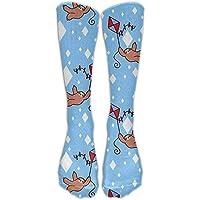 Lazy Cute Sloths Cotton Smooth Compression Knee Socks Afforable Hiking Teen Cartoon Knee-high Long