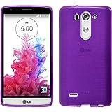 PhoneNatic Case für LG G3 S Hülle Silikon lila brushed + 2 Schutzfolien