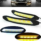 Heinmo 2PCS LED auto fari fendinebbia COB auto diurne DRL con indicatore di direzione luci impermeabile
