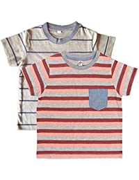 Orange and Orchid Cotton Striped Pocket Kids T-shirt Pack of 2