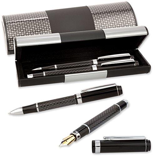 LOGIC-Etui mit SCHREIBSET CARBON MÄANDER 2-teilig Kugelschreiber und Füller (131-2)