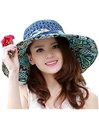 TININNA Pieghevole Bohemia Floreale floscio Large Wide Brim Cappello di  Paglia Spiaggia Cappello da Sole Visiera cap per Signore delle… f36e749f98d7