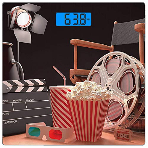 Digitale Präzisionswaage für das Körpergewicht Platz Kino Ultra dünne ausgeglichenes Glas-Badezimmerwaage-genaue Gewichts-Maße,Objekte der Filmindustrie Hollywood Motion Picture Cinematography Concept