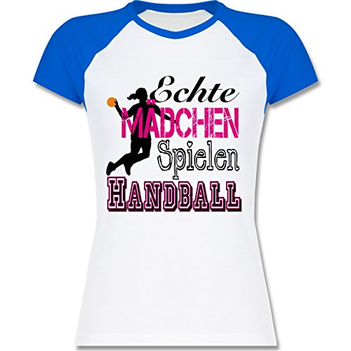Handball - Echte Mädchen Spielen Handball - zweifarbiges Baseballshirt / Raglan  T-Shirt für Damen