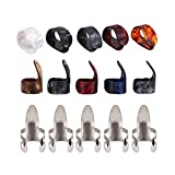 15 Pcs Gitarren Finger Plektrum, 5 Pcs Thumb Plektren & 5 Pcs Zeigefinger Plektren & 5 Pcs Metall Plektren für E Gitarre, Akustik und Bass