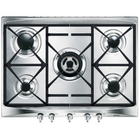 Smeg SR275XGH hobs - Placa (Integrado, Gas, Acero inoxidable, Giratorio, 50 cm,...