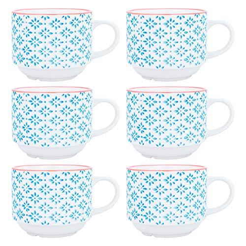 Nicola Spring Tasses empilables pour Le thé et Le café en Porcelaine à Motifs - Motifs Bleus/Oranges - Pack de 6
