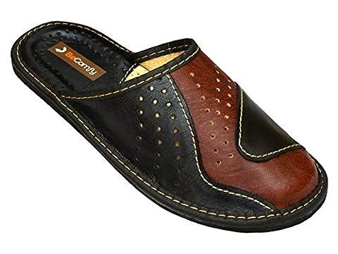 Genuine Men's Leather Slippers, Flip-Flops, Mules (42,