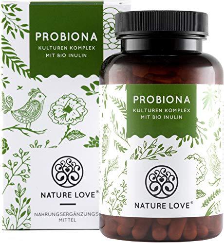 NATURE LOVE® Probiona Kulturen Komplex - mit Bio Inulin. 180 magensaftresistente Kapseln. Bakterienstämme u.a. mit Lactobacillus, Bifidobacterium. Vegan, hochdosiert, hergestellt in Deutschland