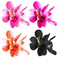 tumundo 1 Barrette Slide Hair Tie Blossom Flower Daisy Hawaii Bow Ribbon Braid Bobby Pin Clip or Set, Color:4 Colour Set