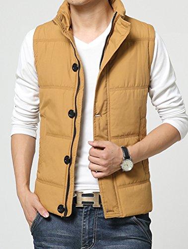 MatchLife Homme Gilet Sans Manche Doublure Zippé Manteau Veste Outdoor Automne Hiver Pour Chaud Blouson Style1 Jaune